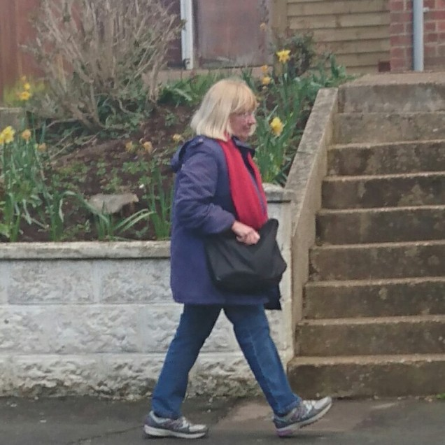 9:58am 8th April, Saint Leonards - took off her red scarf when I verbally outed her in the strèet