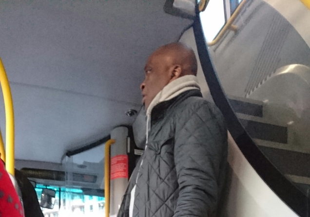 "7:47am 9th April, 344 Bus - boarded inbetween Battersea and Vauxhall, talked on his phone, said ""we got her address"", he has stalked me before."