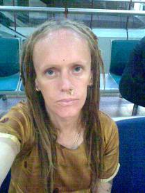 Moi at Heathrow airport back from Madras 2008